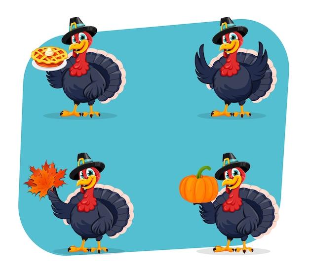 Divertido personaje de dibujos animados de aves de turquía de acción de gracias