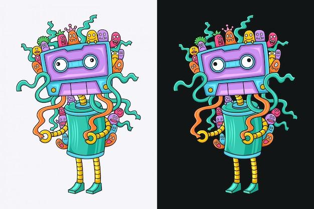 Divertido personaje de dibujos animados de cassette de música
