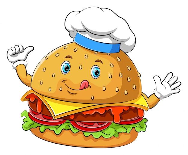 Divertido personaje de dibujos animados de hamburguesas