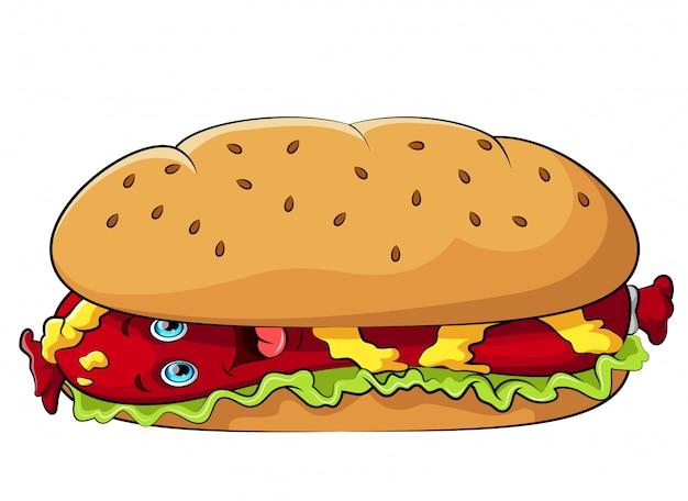Divertido personaje de dibujos animados de hot dog con mostaza