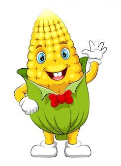 Divertido personaje de dibujos animados de maíz