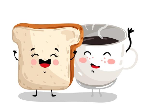 Divertido personaje de dibujos animados de pan tostado y taza de café