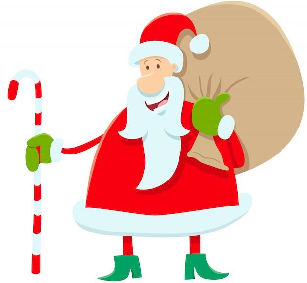 Divertido personaje de dibujos animados de santa claus con regalos