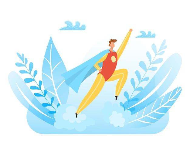 Divertido personaje de fiesta, disfraz de caricatura azul, gente linda feliz, lindo bebé gracioso, ilustración. traje de vacaciones, superhéroe colorido creativo, plantilla de cómic para adultos.