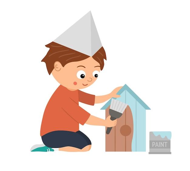 Divertido personaje de niño sentado pintando una caja de nido.