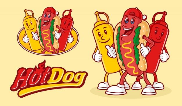 Divertido personaje de perrito caliente con dos botellas de salsa y tipografía