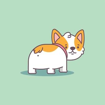 Divertido personaje de perro lindo plano de dibujos animados de corgi a tope aislado sobre fondo.