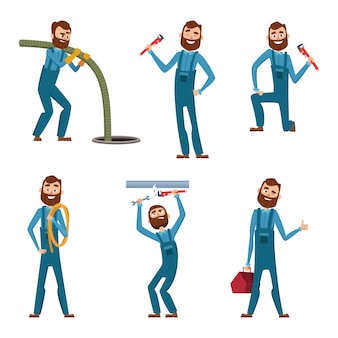 Divertido personaje de reparador o plomero en diferentes poses.