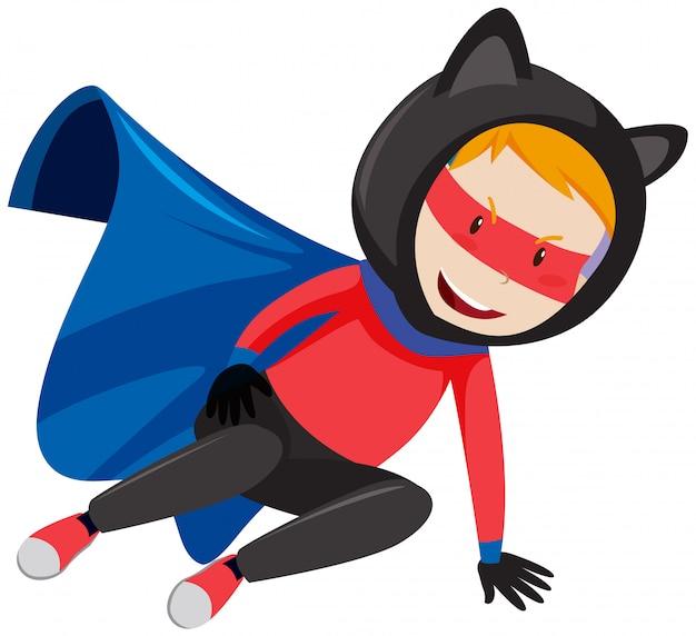 Divertido personaje super héroe chico
