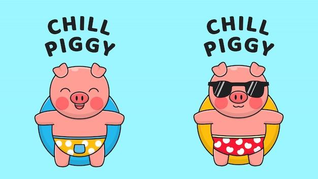 Divertido piggy relax en el anillo de natación