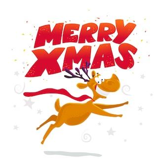 Divertido retrato de personaje de reno. . elementos de decoración de navidad. tarjeta de feliz navidad y próspero año nuevo.