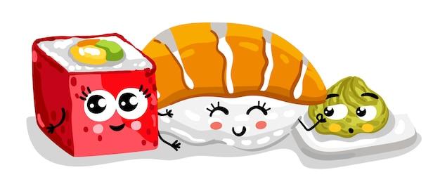 Divertido sushi y sashimi set personaje de dibujos animados