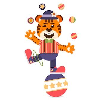 Divertido tigre malabarista encima de una gran bola. estilo de dibujos animados ilustración. estilo de diseño plano.