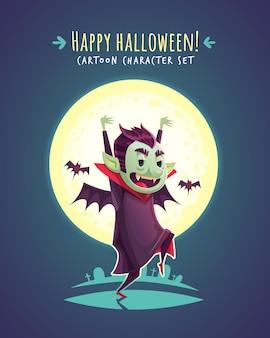 Divertido vampiro de halloween. ilustración de personaje de dibujos animados