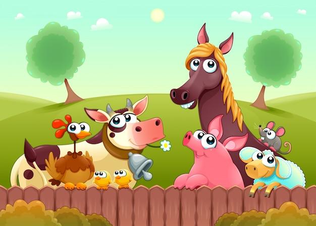 Divertidos animales de granja sonriendo cerca de la valla