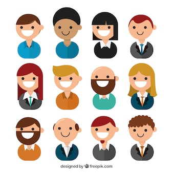 Divertidos avatares de personas de negocios