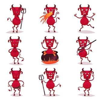 Divertidos demonios rojos con cuernos y colas, personajes de dibujos animados de demonio positivo con diferentes emociones ilustraciones