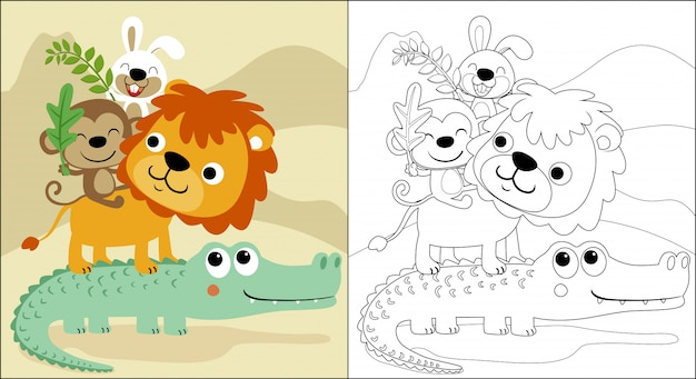 Divertidos dibujos animados de animales apilados