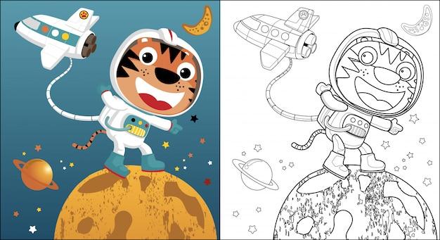 Divertidos dibujos animados de astronauta y lanzadera en el espacio ultraterrestre