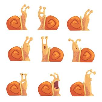 Divertidos dibujos animados de caracoles que muestran diferentes emociones, lindos personajes de caracol cómico ilustraciones