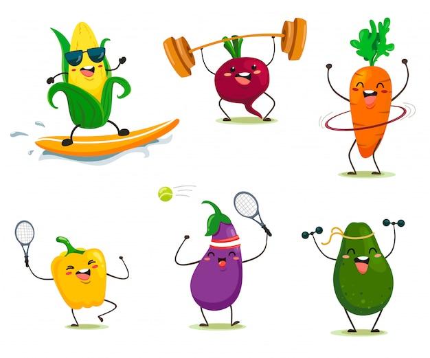Divertidos dibujos animados estilo verduras hacen deporte. aislamientos