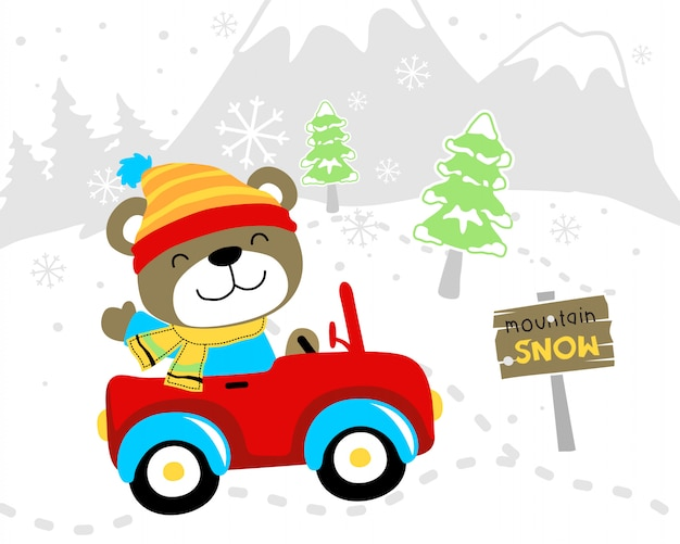 Divertidos dibujos animados de oso en coche en invierno