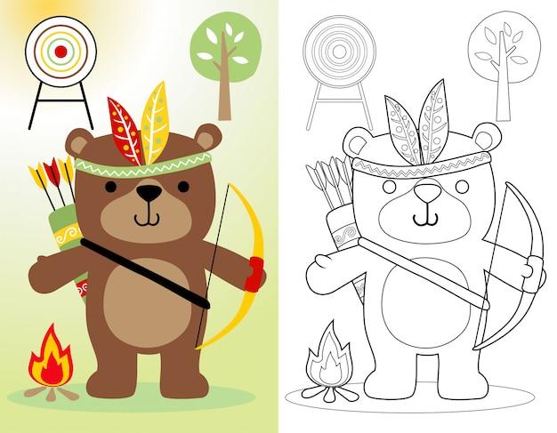 Divertidos dibujos animados de oso con tocado de plumas