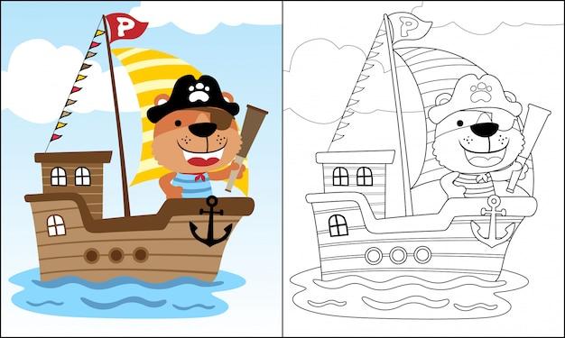 Divertidos dibujos animados pirata en velero en el mar