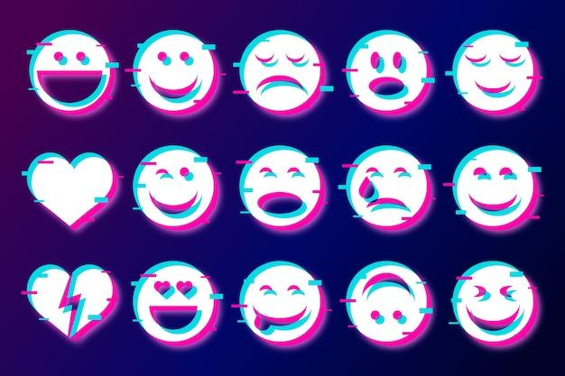Divertidos emojis glitched para la colección de chats