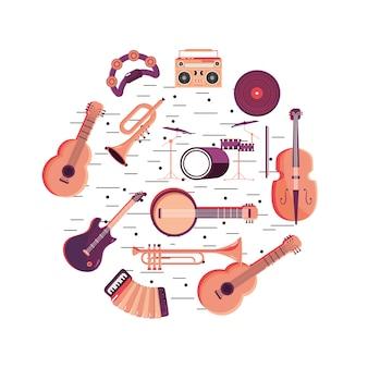 Divertidos instrumentos para evento de festival de música.