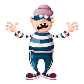 Divertidos, lindos, personajes de ladrón de dibujos animados loco