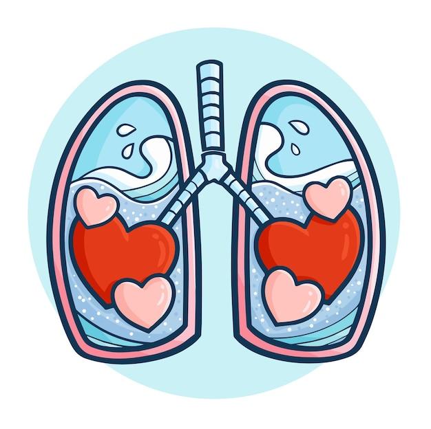 Divertidos y lindos pulmones de amor de san valentín en estilo simple doodle