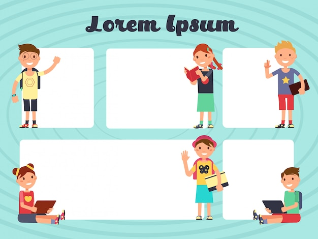 Divertidos marcos de diseño infantil. vector fondos de folleto de mensajes de texto con los niños de dibujos animados