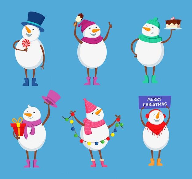 Divertidos muñecos de nieve en diferentes poses de acción.