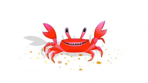 Divertidos niños cangrejo mascota alegre y feliz ilustración de vector de dibujos animados de imagen infantil.