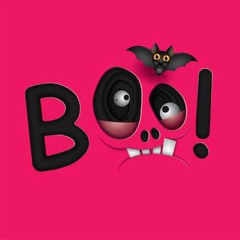 Divertidos ojos de monstruo de calavera rosa de halloween