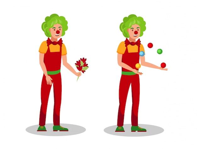 Divertidos payasos trucos ilustración vectorial de color plano