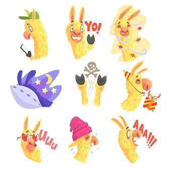 Divertidos personajes de alpaca posando en diferentes situaciones, dibujos animados emoji alpaca coloridas ilustraciones