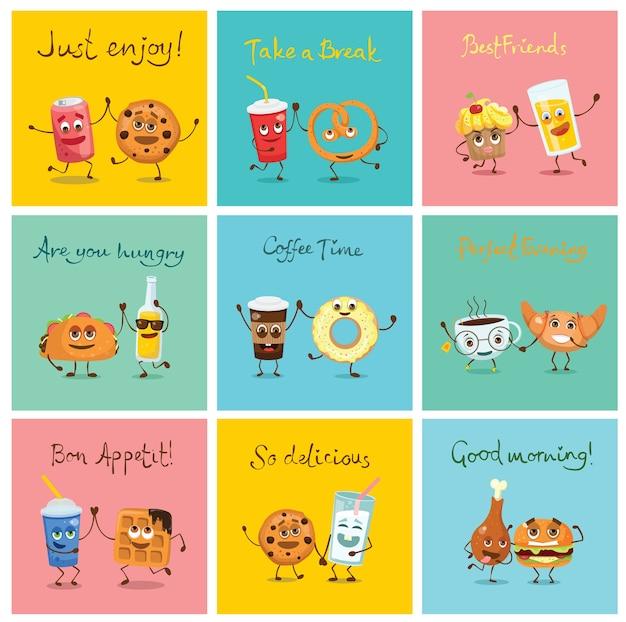 Divertidos personajes de comida de mejores amigos con emociones, incluye comida rápida y frutas, ilustraciones en estilo plano