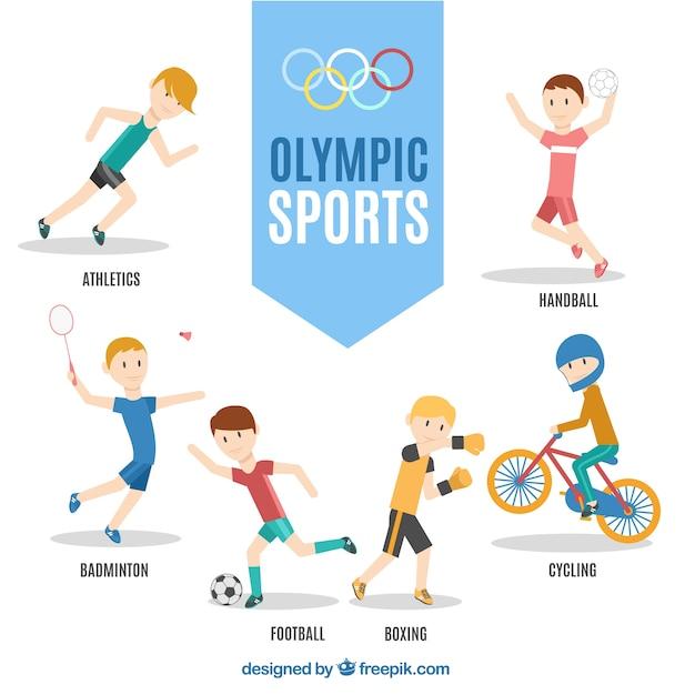 Divertidos personajes de deportes olímpicos