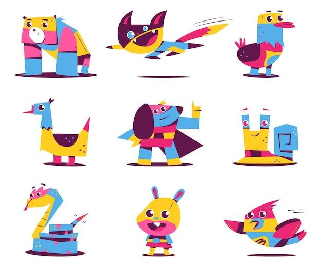 Divertidos personajes de dibujos animados de animales y mascotas de superhéroes