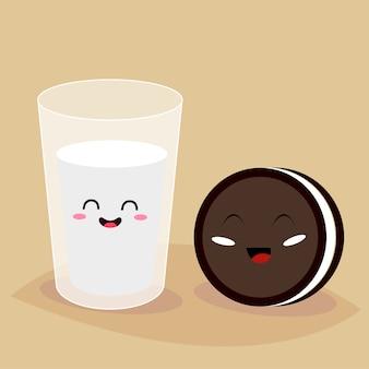Divertidos personajes de dibujos animados de vaso de leche y galleta