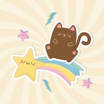 Divertidos personajes de fantasía gato y arco iris kawaii