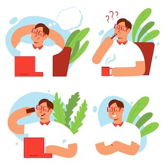 Divertidos personajes de hombre de negocios vector conjunto de dibujos animados aislado.