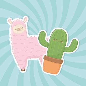Divertidos personajes kawaii llama peruano y cactus