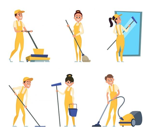 Divertidos personajes de limpieza o servicio técnico.
