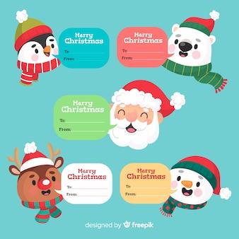 Divertidos personajes navideños con cuadros de texto