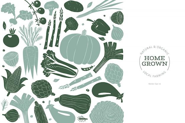 Divertidos vegetales dibujados a mano