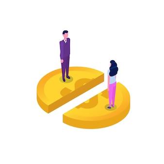 Dividir el concepto de dinero, compartir beneficios.