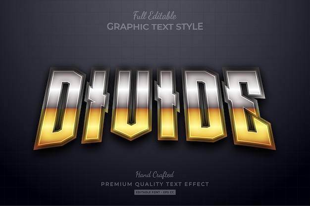 Dividir el estilo de fuente de efecto de texto editable dorado plateado